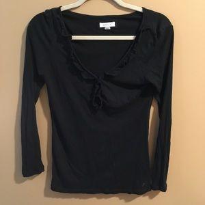 Aerie Super Soft Black VNeck Ruffle Long Sleeve